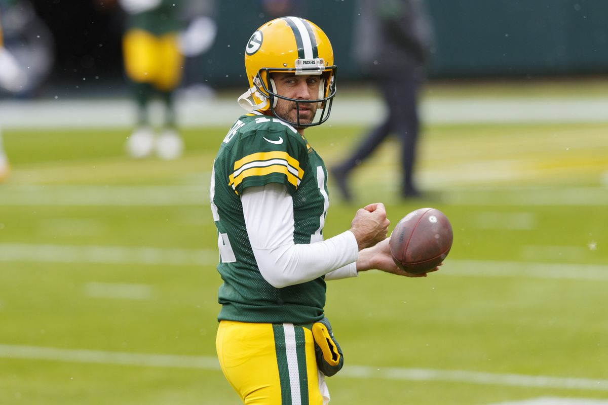 Green Bay Packers quarterback Aaron Rodgers looks on during warmups prior to a game against the Minnesota Vikings at Lambeau Field.