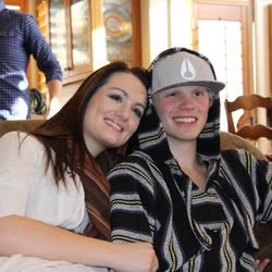 Tyler Robinson poses for a picture with his sister, Lauren.