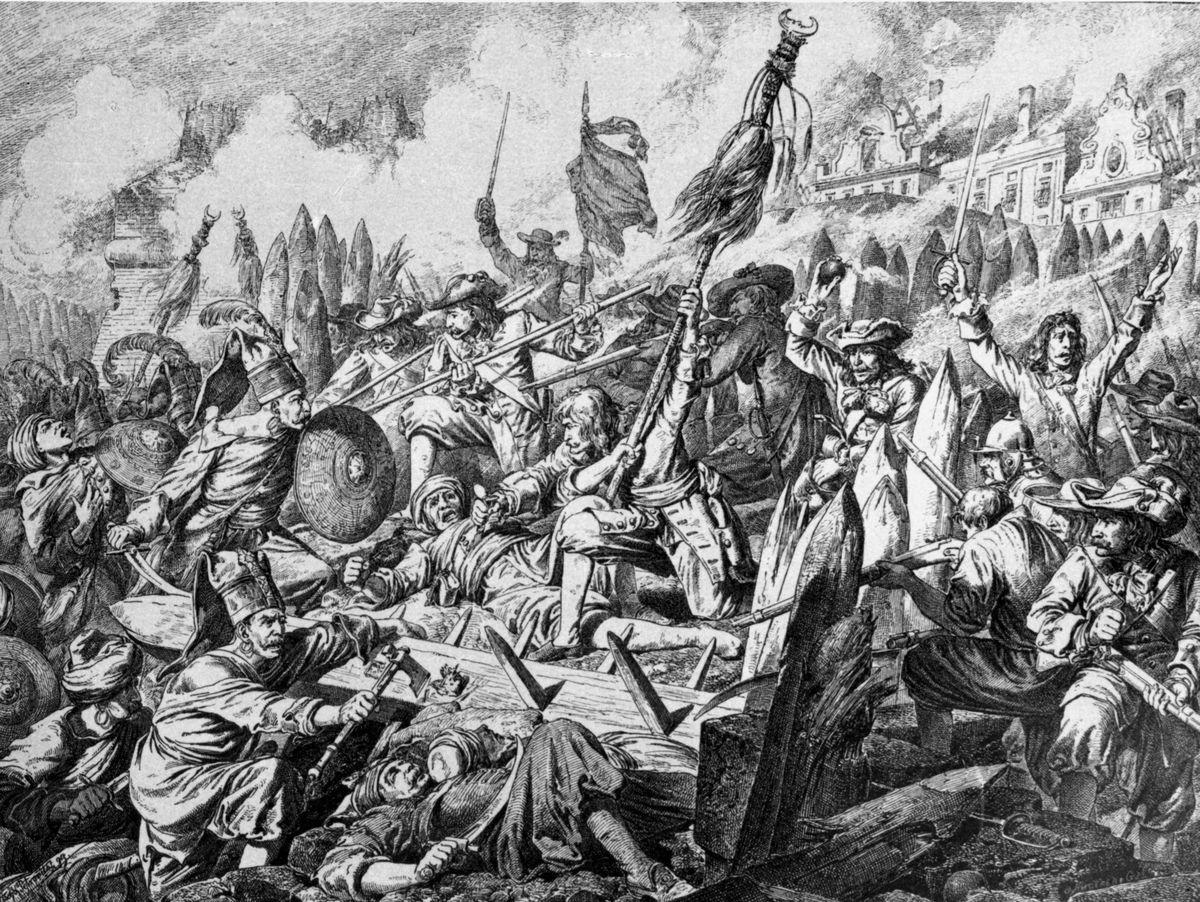 "Battle ""Zauberhaufen"" during the Second Siege of Vienna, Copper engraving, 17th century"