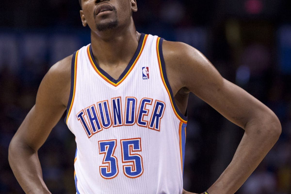 April 25, 2012; Oklahoma City  OK, USA;Oklahoma City Thunder small forward Kevin Durant (35) looks at the scoreboard during the third quarter against the Denver Nuggets at Chesapeake Energy Arena Mandatory Credit: Richard Rowe-US PRESSWIRE