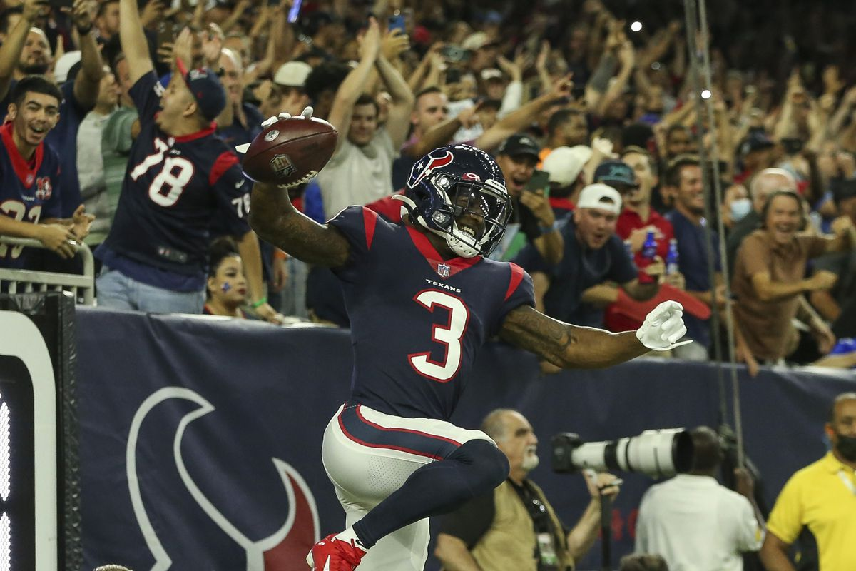 Houston Texans wide receiver Anthony Miller (3) spikes the ball after scoring a touchdown during the second quarter against the Carolina Panthers at NRG Stadium.