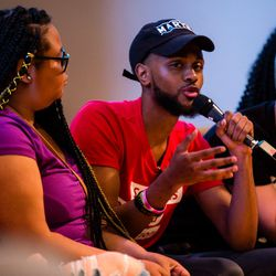 Chicago student Anthony Lovelace at the March For Our Lives town hall meeting at The DuPage Unitarian Universalist Church, Naperville, June 16th, 2018. | James Foster/For the Sun-Times