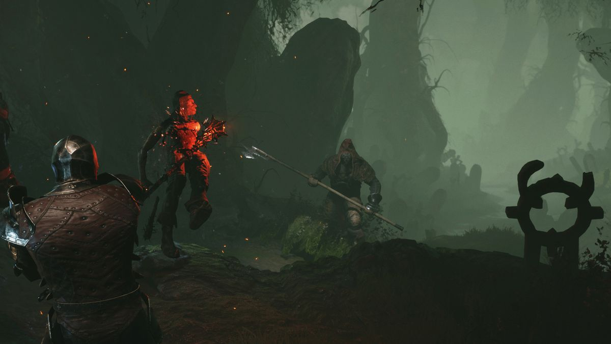 knights and demons fighting in an eerie landscape