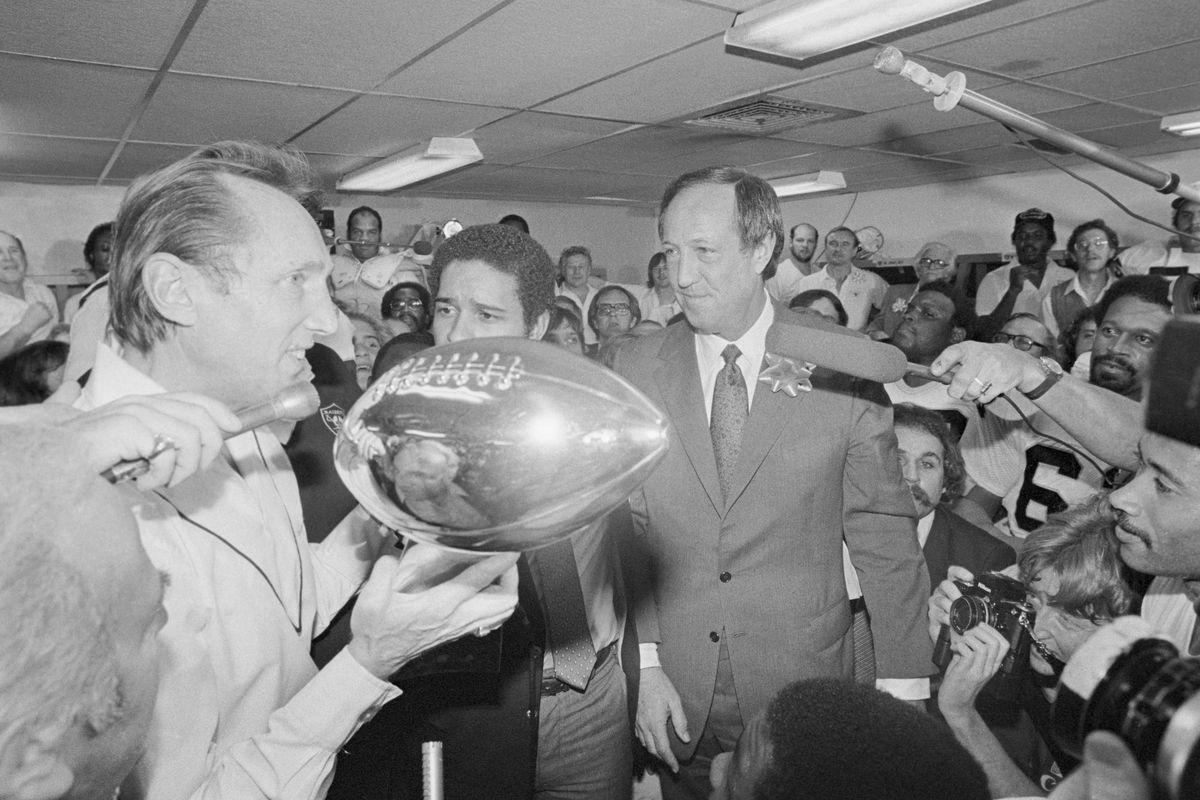 Pete Rozelle Handing Trophy to Al Davis