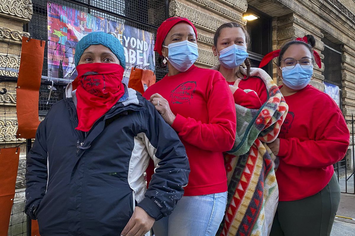 (From left) Maria Isabel Sierra, Santa Arias, Rubiela Correa and Verónica Leal went on hunger strike to protest the lack of federal and state funding for overlooked essential workers.