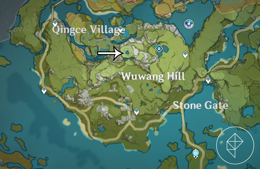 A map showing where to complete the final Chi of Guyun puzzle