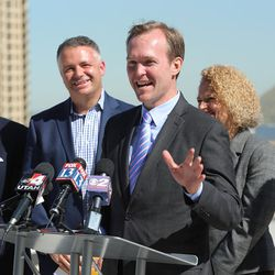 Salt Lake County Mayor Ben McAdams discusses Downtown Rising projects and its priorities for the next 10 years from atop the Walker Center in Salt Lake City on Tuesday, May 3, 2016. He was joined by local business leaders and other elected officials.