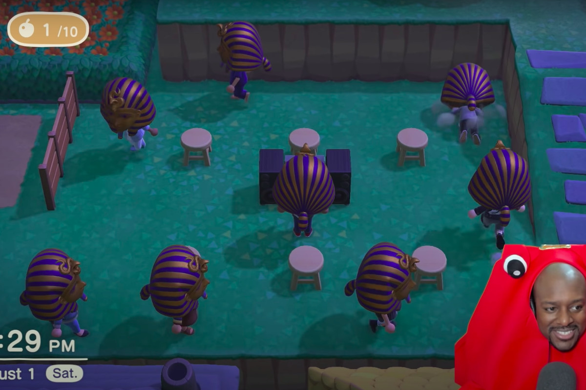 A small army of Animal Crossing villagers wear King Tut's mask while playing musical chairs.