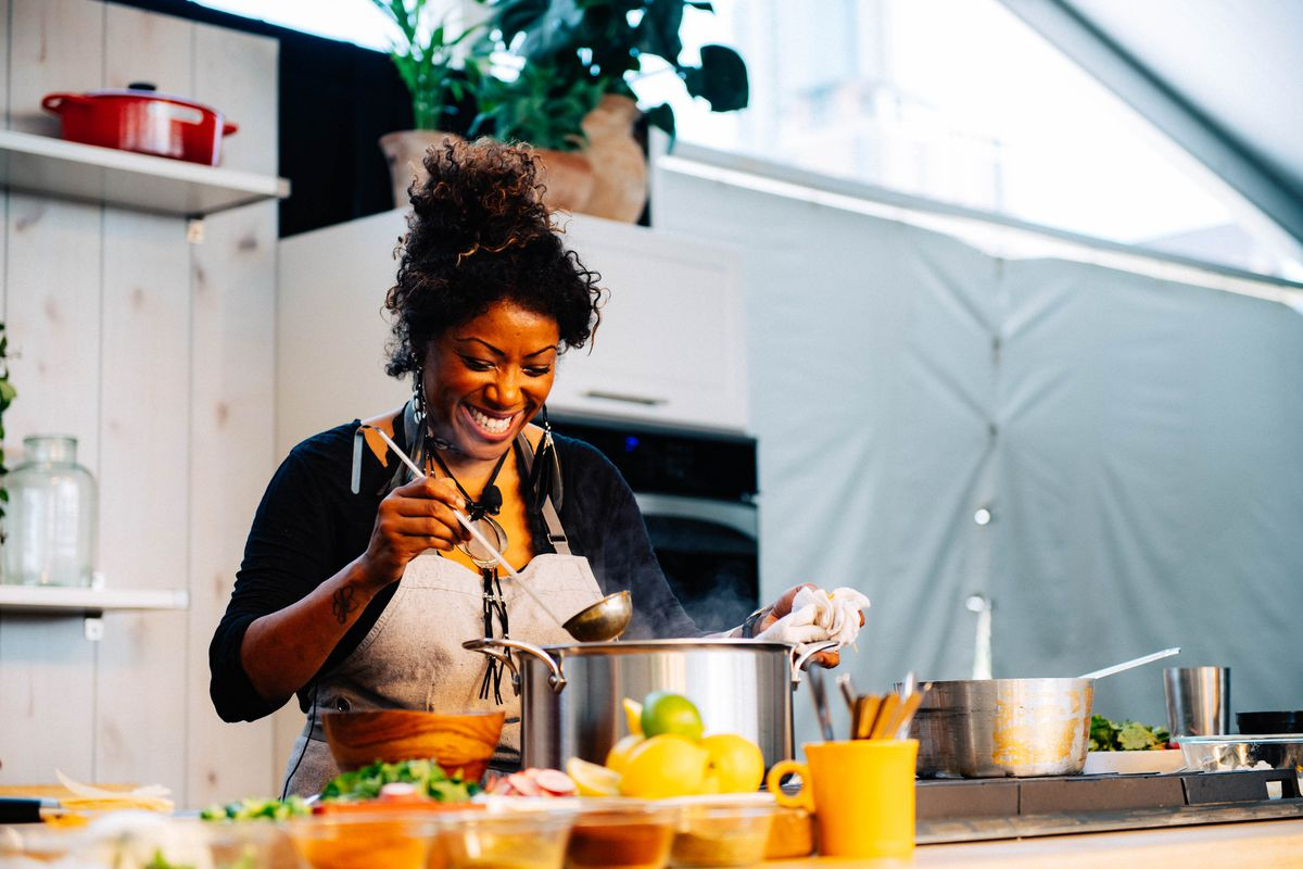 Nyesha Arrington during a cooking demo at the Austin Food & Wine Festival 2018