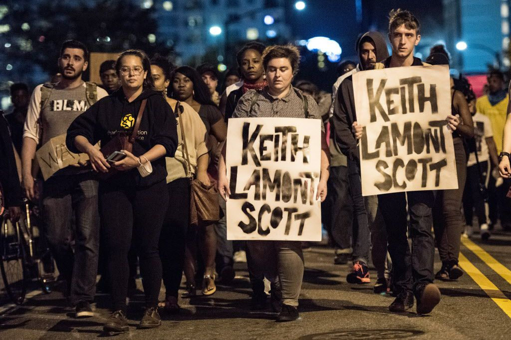 Demonstrators march during protests on Sept. 22, 2016 in Charlotte. | Sean Rayford/Getty Images