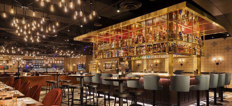 Restaurant interior with hanging lights