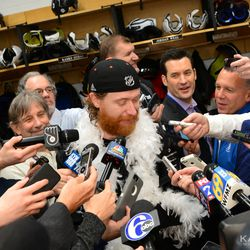 All smiles in the locker room, too