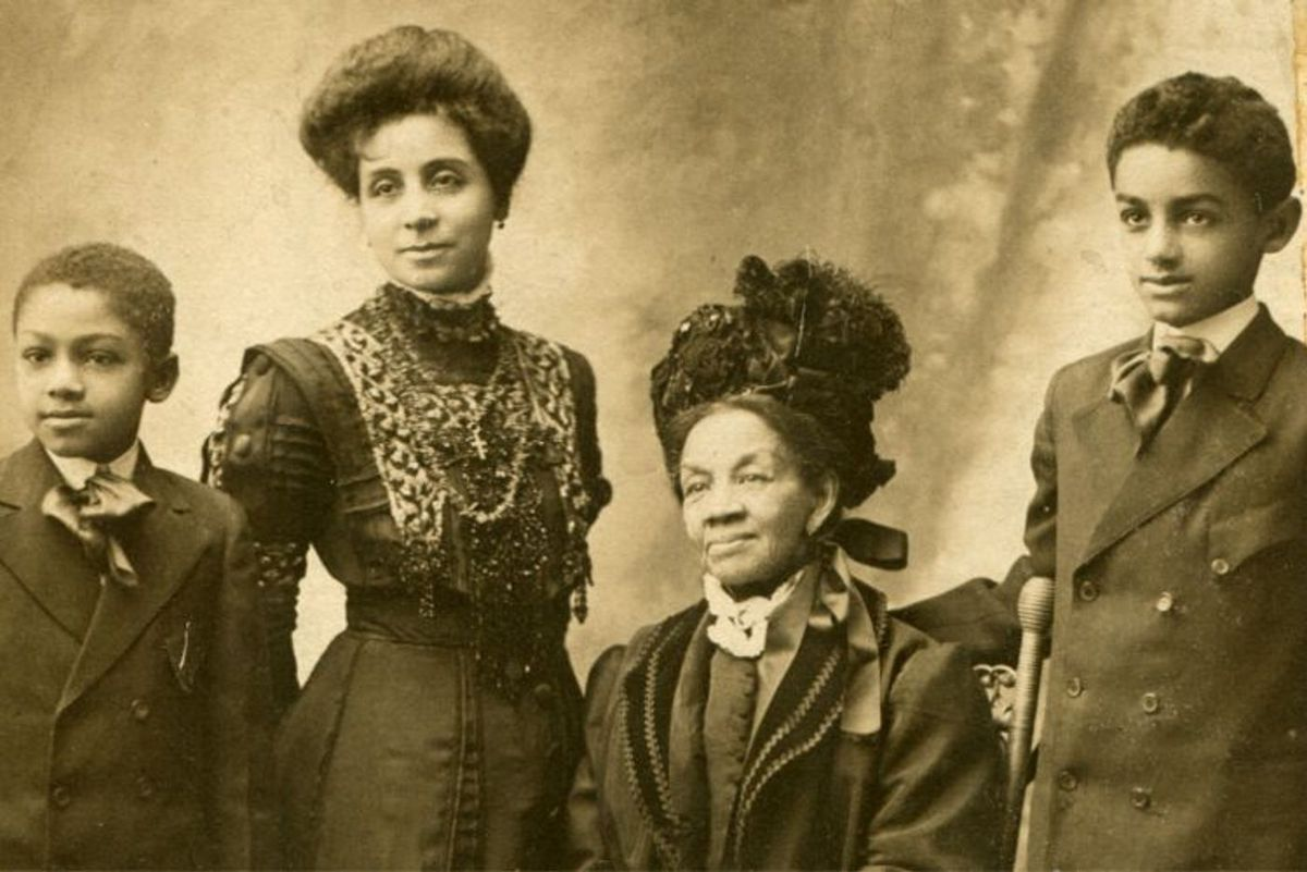 Sarah Smith Garnet, seated, was New York City's first African-American public school principal. The photo was taken around 1910, when Garnet was in her late seventies.