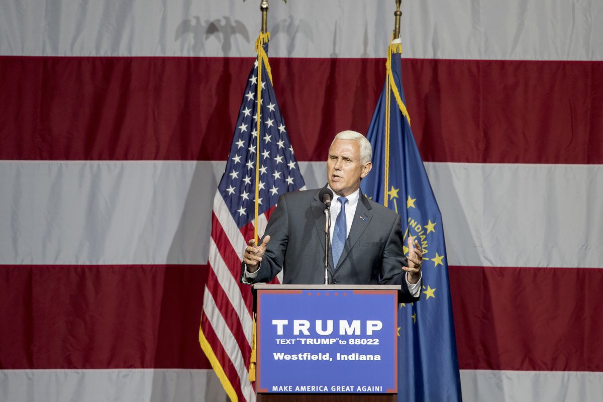 Pence introducing Donald Trump in July.