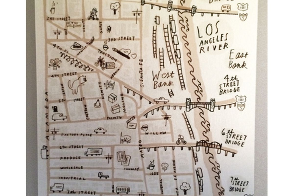 """Downtown Muse Arts District illustrated map, <a href=""""http://downtownmuse.com/ad-metal-map/"""">$75</a>."""
