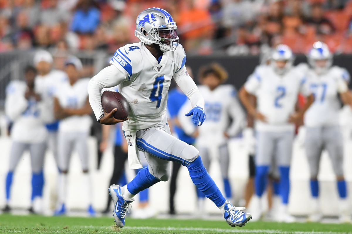 Quarterback Josh Johnson of the Detroit Lions carries the ball in the third quarter of a preseason game against the Cleveland Browns on August 29, 2019 at FirstEnergy Stadium in Cleveland, Ohio.