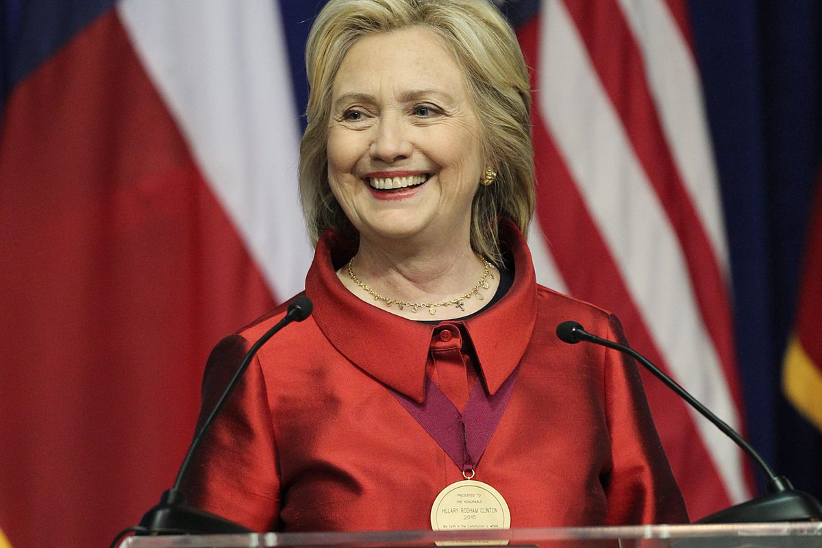 Democratic presidential candidate Hillary Clinton speaks at the Inaugural Barbara Jordan Gold Medallion at Texas Southern University on June 4, 2015, in Houston, Texas