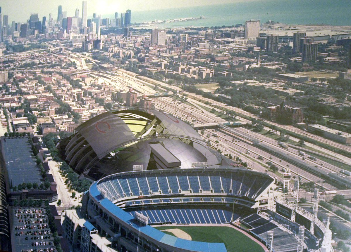 The Landmarks Preservation Council unveils new stadium design proposal as the city was pondering a massive Soldier Field renovation.