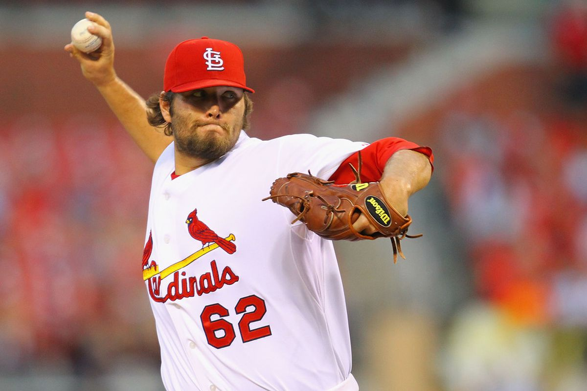 ST. LOUIS, MO - JULY 5: Reliever Lance Lynn #62 of the St. Louis Cardinals pitches against the Cincinnati Reds at Busch Stadium on July 5, 2011 in St. Louis, Missouri.  (Photo by Dilip Vishwanat/Getty Images)