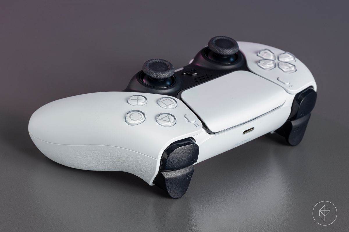 An angled view showing the trigger buttons of the DualSense controller