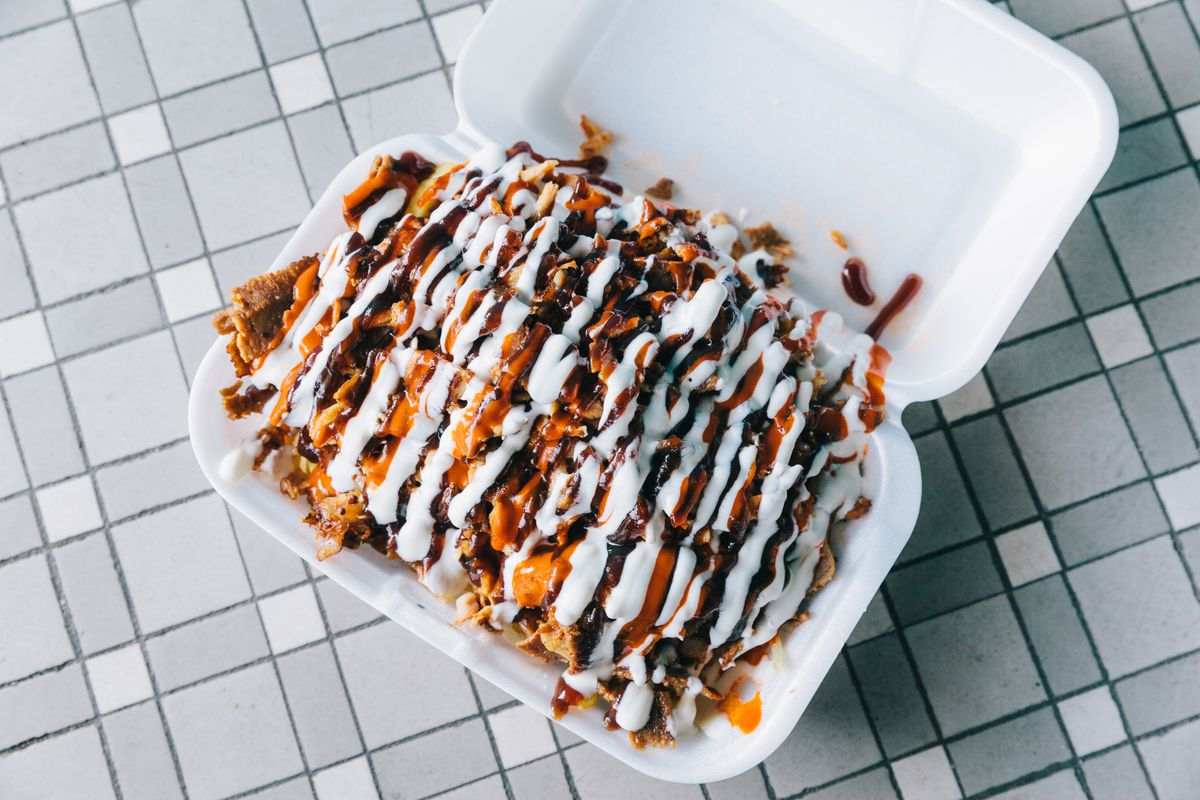 Squiggles of white sauce smother a pile of fries and meat