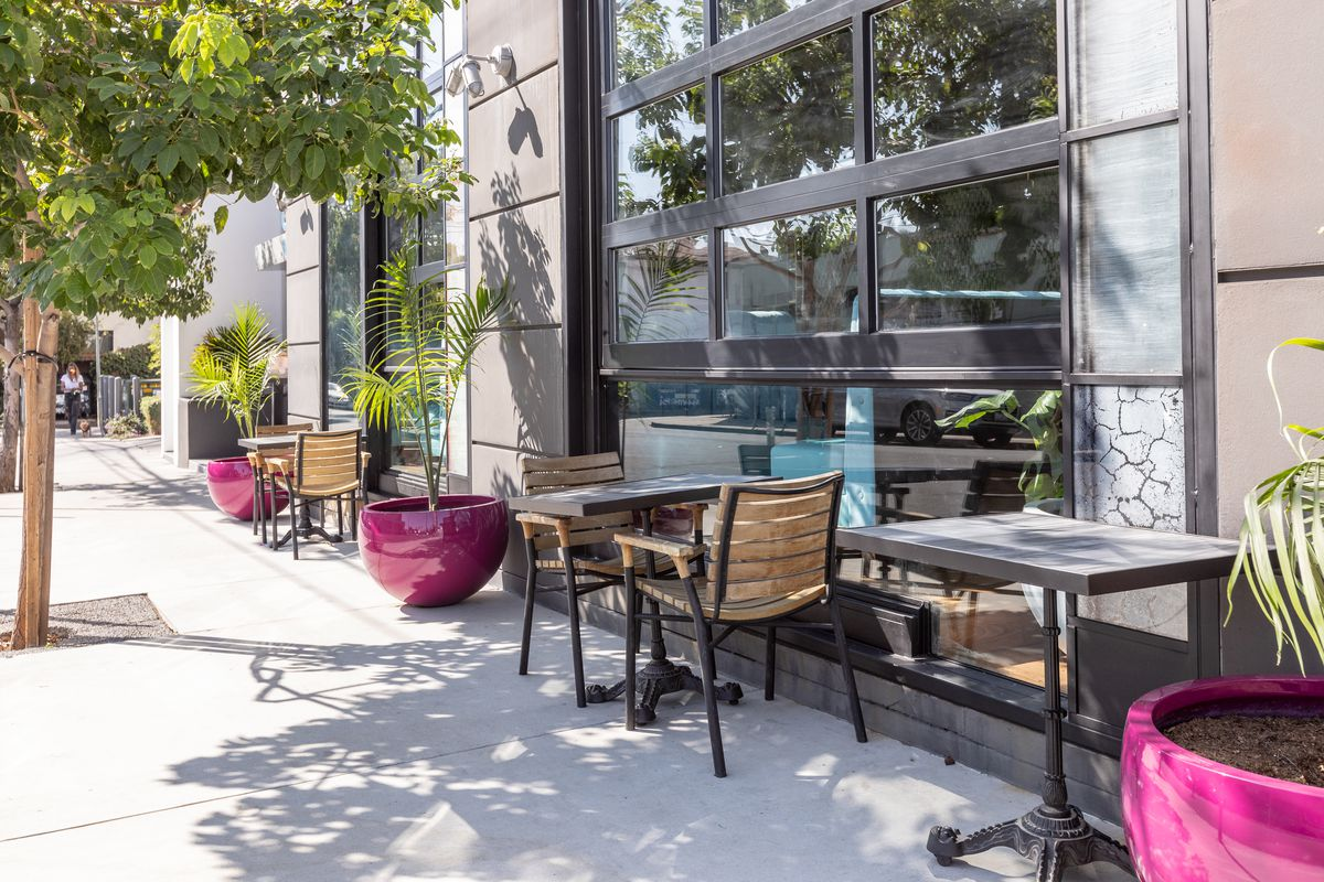 Outdoor seating at Madre