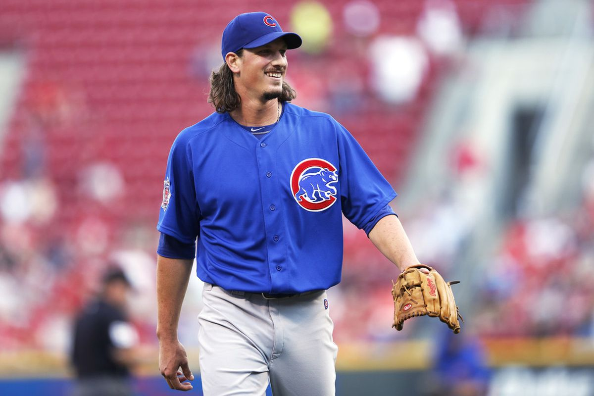 Jeff Samardzija of the Chicago Cubs looks on after pitching against the Cincinnati Reds at Great American Ball Park on May 2, 2012 in Cincinnati, Ohio. (Photo by Joe Robbins/Getty Images)