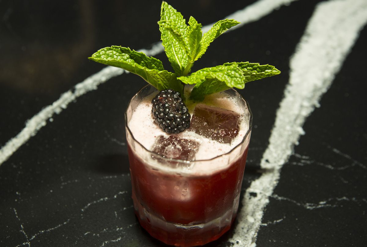High ball class willed with a pink cocktail with a berry and mint leaf garnish.