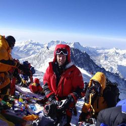 Steve Pearson, center, stands among other climbers on the summit of Mount Everest on May 19.