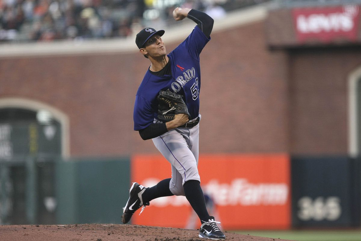 May 14, 2012; San Francisco, CA, USA; Colorado Rockies starting pitcher Christian Friedrich (53) pitches the ball against the San Francisco Giants during the first inning at AT&T Park. Mandatory Credit: Kelley L Cox-US PRESSWIRE