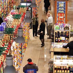Grocery shoppers shop at the new City Creek Harmons store in downtown Salt Lake City  Wednesday, Feb. 15, 2012.