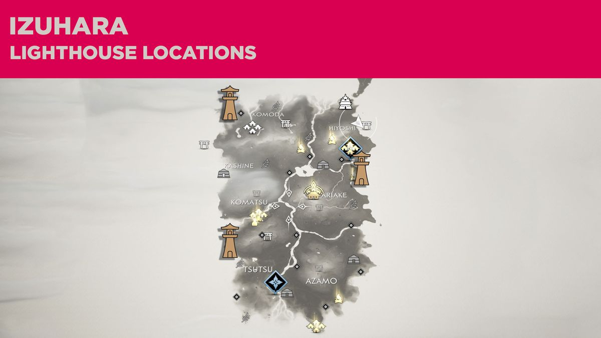 All the lighthouse locations in Izuhara in Ghost of Tsushima