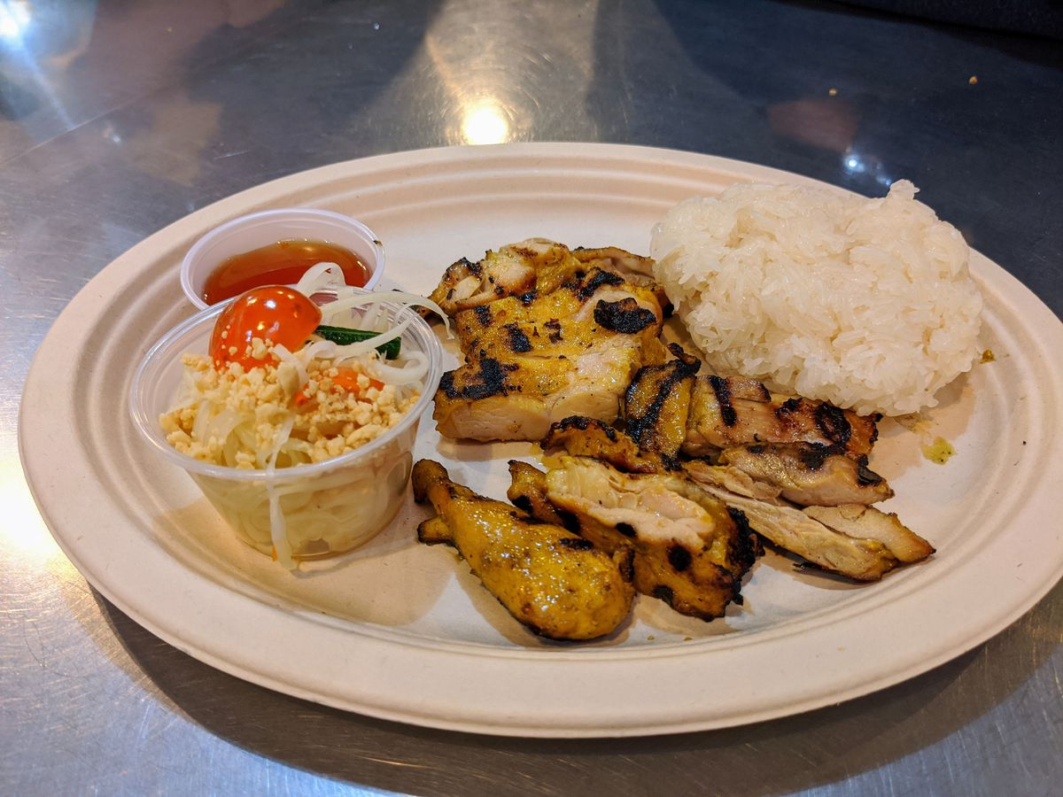 Grilled chicken with sticky rice at Sticky Rice in Grand Central Market.
