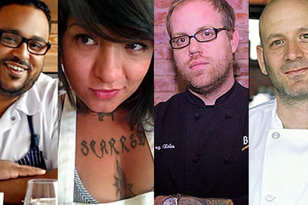 Kevin Sbraga (Top Chef, Sbraga), Jen Zavala (Cherry Bomb Bus), Jeremy Nolen (Brauhaus Schmitz), Marc Vetri (Vetri, Osteria, Amis)