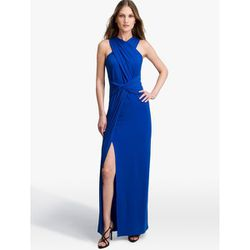 """<b>Halson Heritage</b> Twist Jersey Gown, <a href=""""http://www.halston.com/store/dresses/evening-gowns/twist-jersey-gown-2.html?color=bright-cobalt"""">$395</a>"""