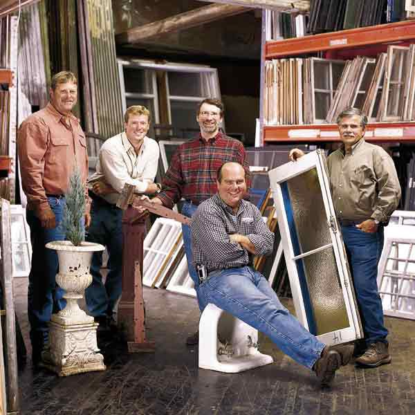 <p><strong>Shown:</strong> A trip to the salvage yard offers something for everyone, as the guys from the <em>This Old House</em> TV show discovered. From left: Roger Cook, Kevin O'Connor, Norm Abram, Richard Trethewey, and Tom Silva with some of their finds.</p>