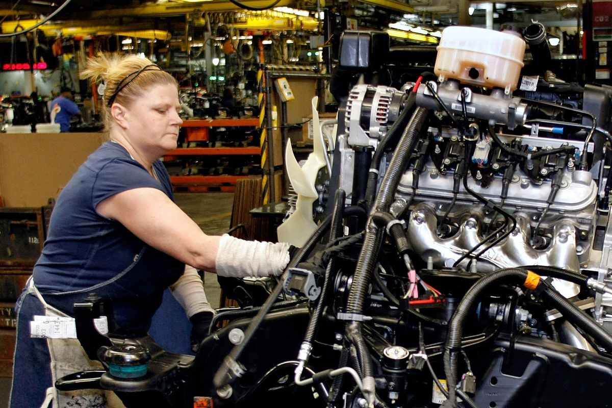Assembly line jobs are exactly the kind of middle-skill jobs that women and men have lost since the 1970s.
