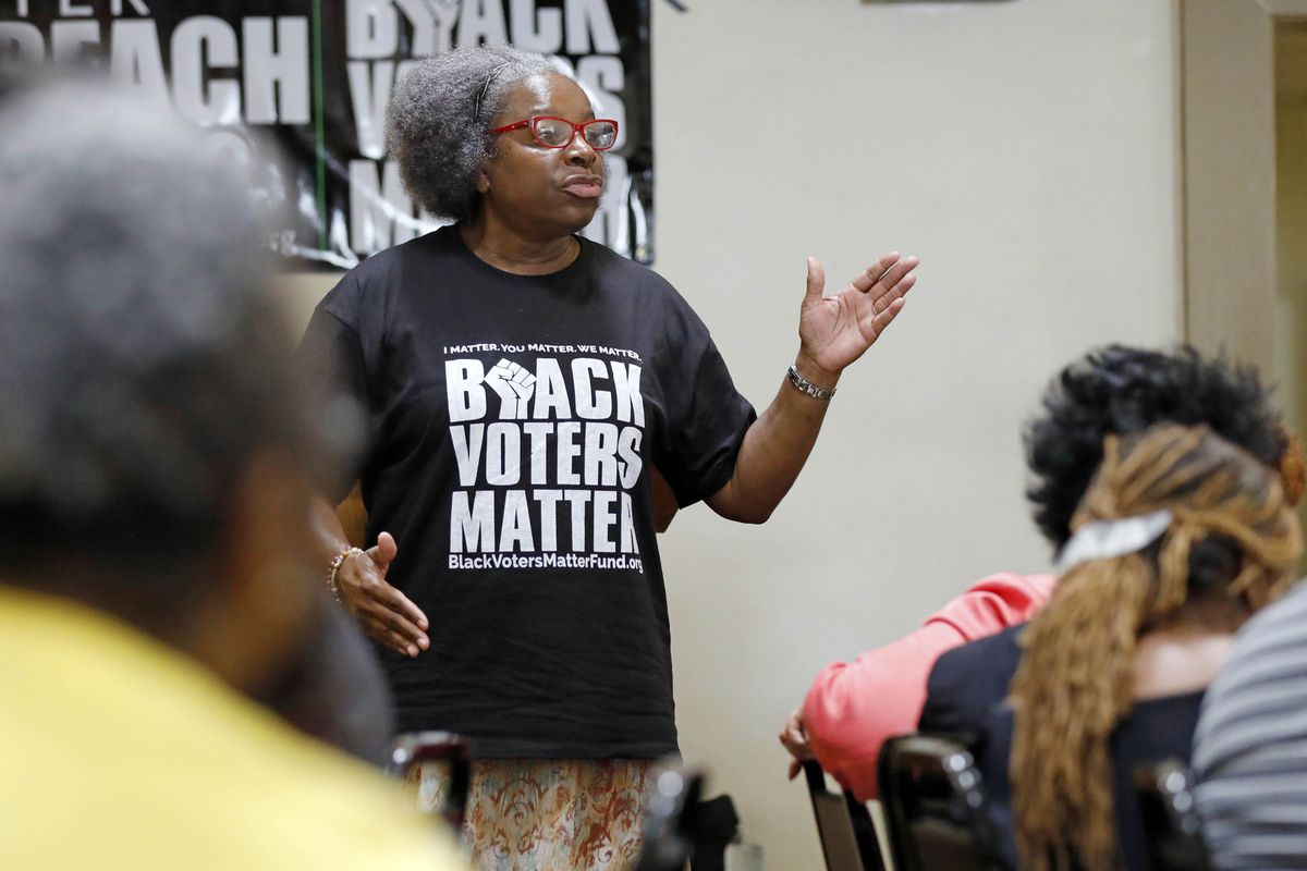 In this Aug. 24, 2018 photo, Betty L. Petty of Sunflower County Parents and Students United, addresses a meeting of the Black Voters Matter Fund and several Mississippi grassroots organizations at MACE, Mississippi Action for Community Education, headquar