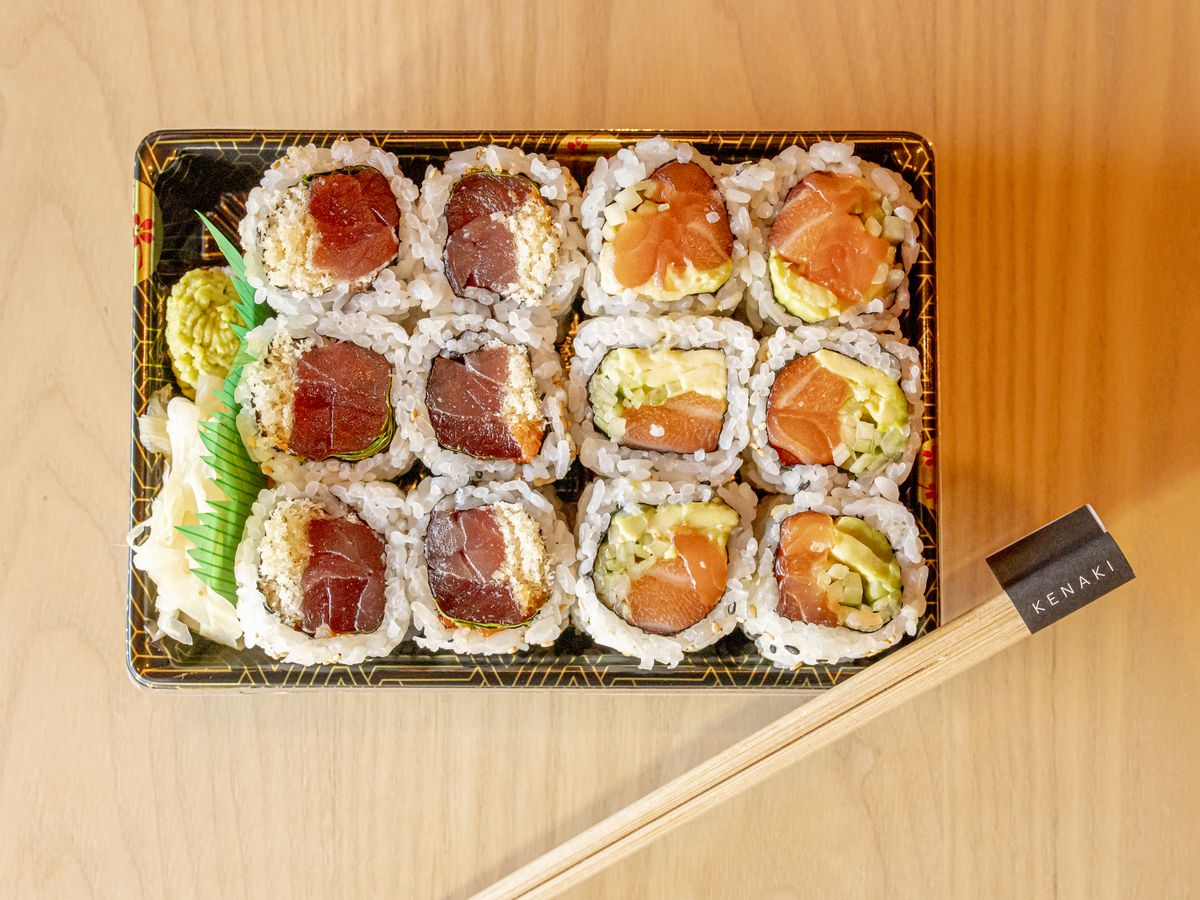A plate of sushi rolls from Ako by Kenaki