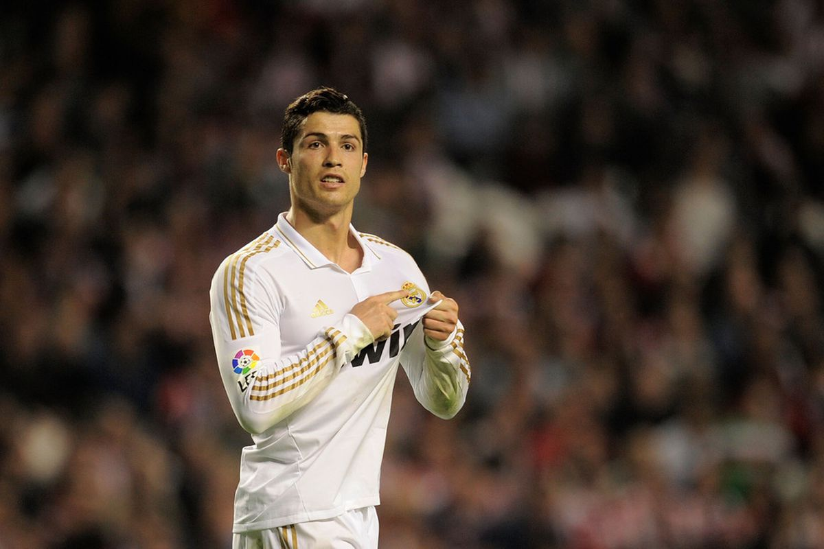 BILBAO, SPAIN - MAY 02:  Cristiano Ronaldo of Real Madrid CF reacts during the La Liga match between Athletic Club and Real Madrid CF at estadio San Mames on May 2, 2012 in Bilbao, Spain.  (Photo by Denis Doyle/Getty Images)