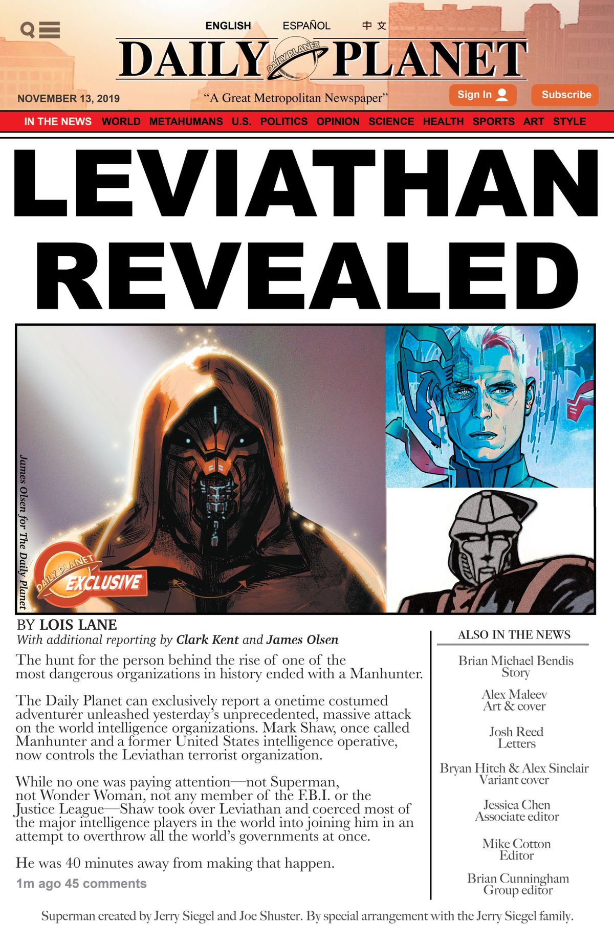 Leviathan unmasked on the cover of The Daily Planet in Leviathan #6, DC Comics (2019).