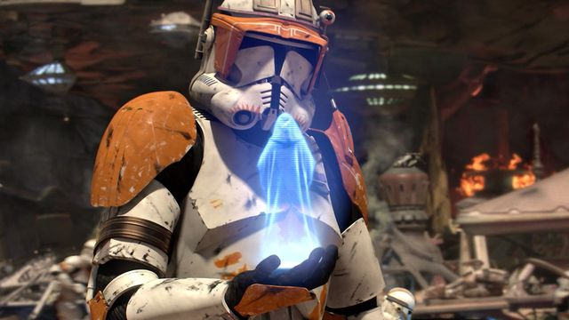 Lord Sidious appears to a Clone Commander to issue Order 66.