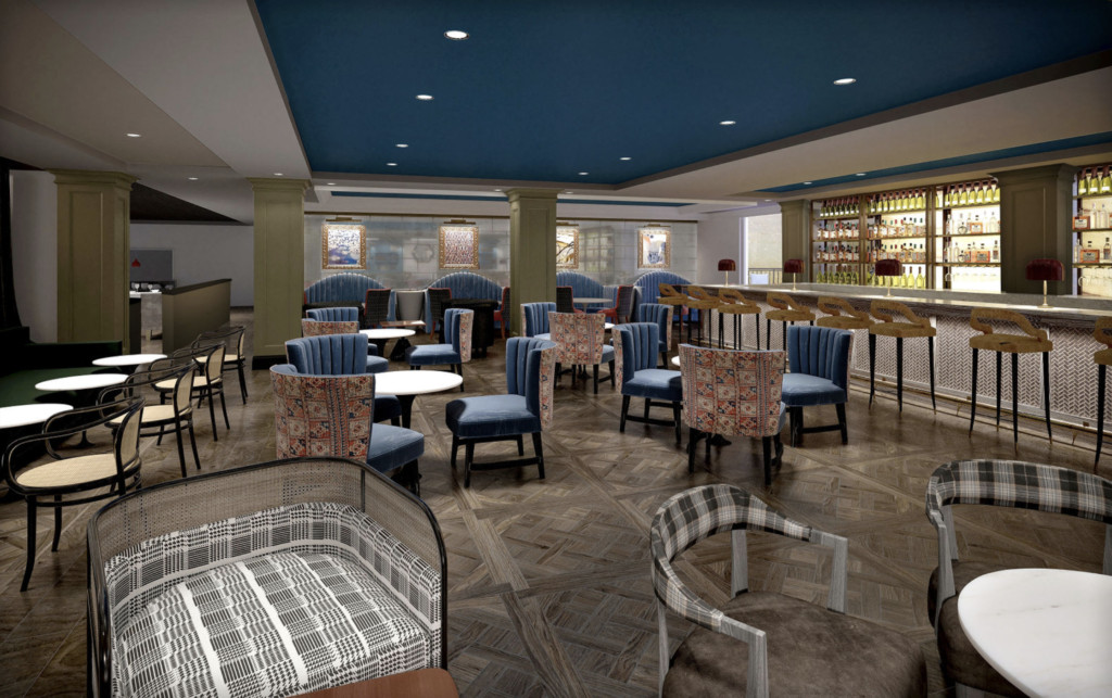 A rendering of a full bar fronted by table seating. The carpet looks exotic, and the ceiling is deep blue.