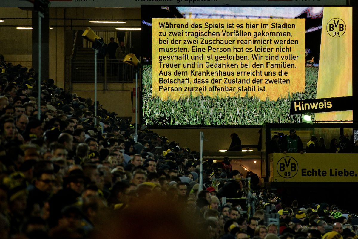 BVB announced the tragedy that occurred at the stadium.