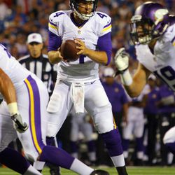 Aug 16, 2013; Orchard Park, NY, USA;  Minnesota Vikings quarterback McLeod Bethel-Thompson (4) looks to hand off the ball during the second half against the Buffalo Bills at Ralph Wilson Stadium.  Buffalo defeats Minnesota 20 to 16.
