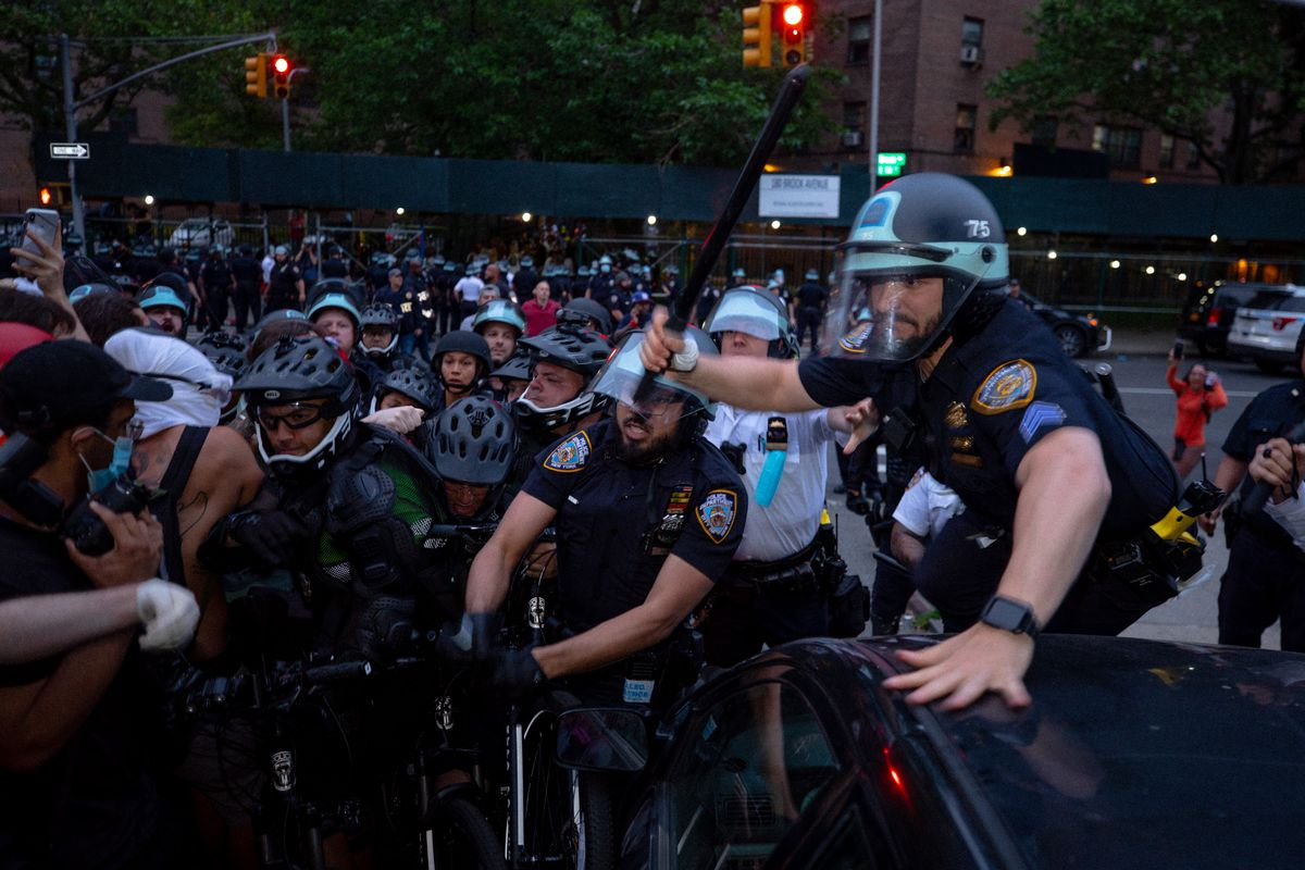 Several protesters were injured after NYPD officers swung batons into a crowed during protests in Mott Haven, The Bronx, June 4, 2020.