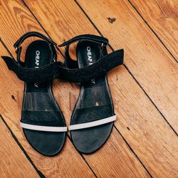 """Cheap Monday Sandals, <a href=""""http://onanyc.com/collections/shoes/products/saviour-sandal-black"""">$69</a>"""