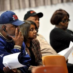 In a photo from March 26, 2012 Muskegon Heights resident Jerry Riley, pictured from left, along with Joyce Phelps, Joe Warren of Muskegon Township, and Pauline McDowell of Muskegon Township, listen to the regular Muskegon Heights Public School Board meeting. Both Riley and Warren spoke about their concerns to the board.