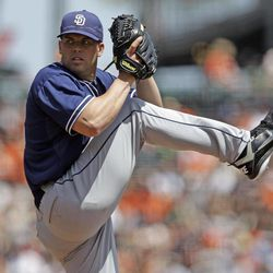 San Diego Padres starting pitcher Clayton Richard throws to the San Francisco Giants during the first inning of a baseball game in San Francisco,  Sunday, April 29, 2012.
