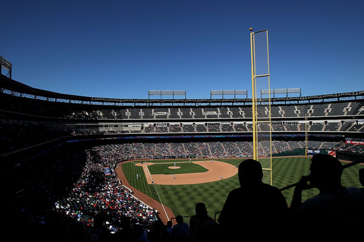 ARLINGTON TX - SEPTEMBER 29:  A general view of play between the Seattle Mariners and the Texas Rangers on September 29 2010 in Arlington Texas.  (Photo by Ronald Martinez/Getty Images)